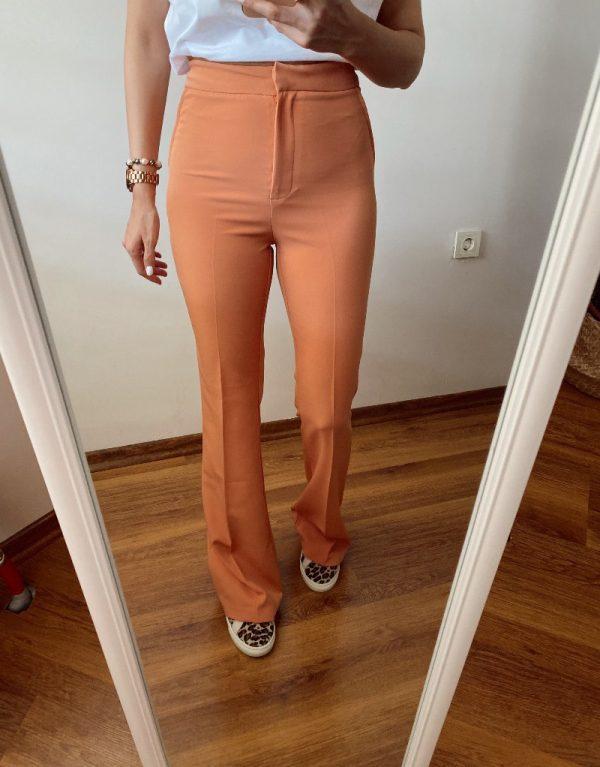 Turuncu İspanyol Paça Kumaş Pantolon