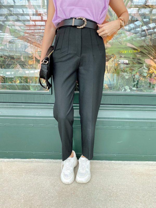 Siyah Pensli Kumaş Pantolon