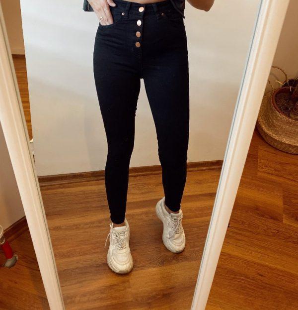 Topshop Siyah Düğmeli Jean