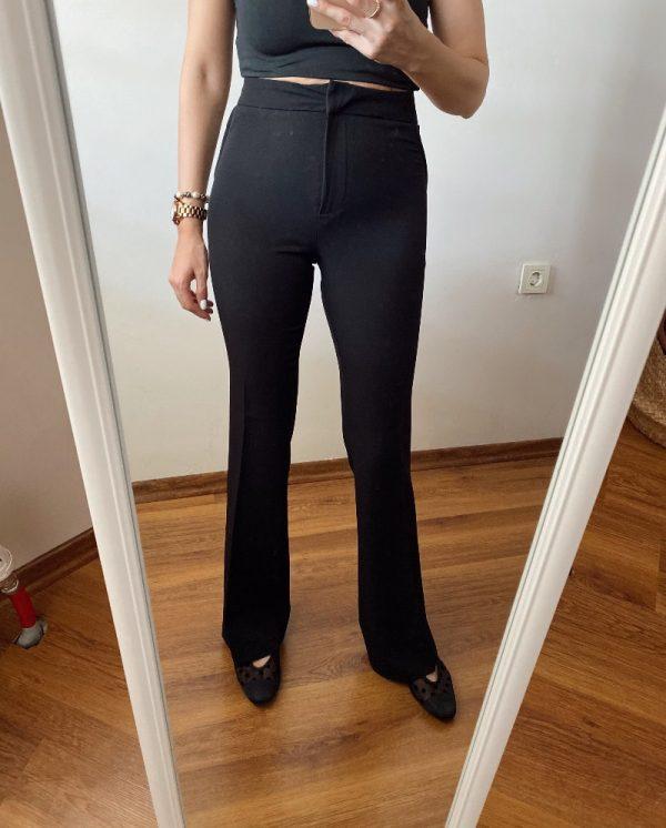 Siyah İspanyol Paça Kumaş Pantolon