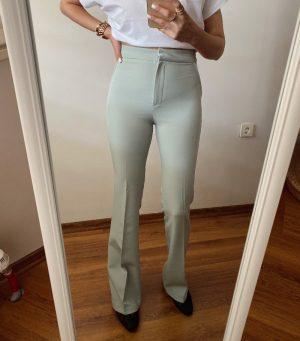 Mint Yeşili İspanyol Paça Kumaş Pantolon