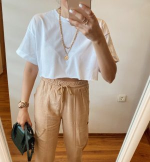 Beyaz Duble Kol Crop Tişört