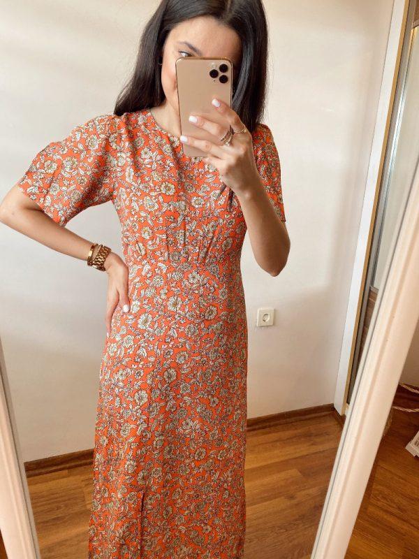 Somon Çiçekli Yırtmaç Detaylı Elbise