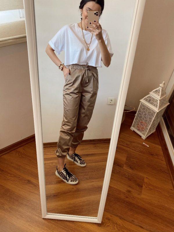Vizon Renk Krep Saten Pantolon