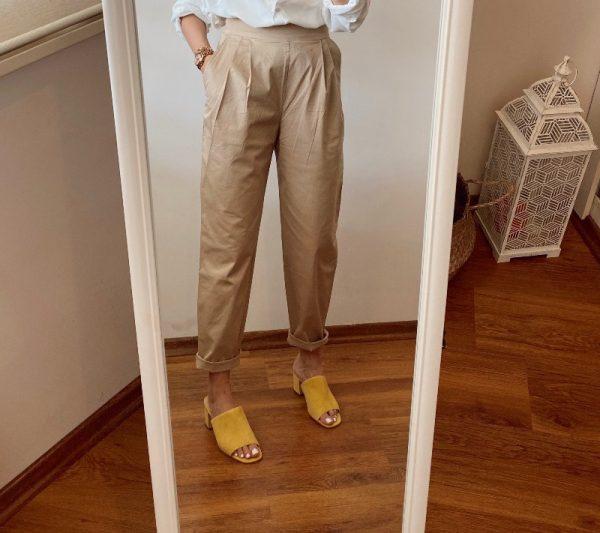 Bej Ultra Yüksek Bel Canvas Pantolon
