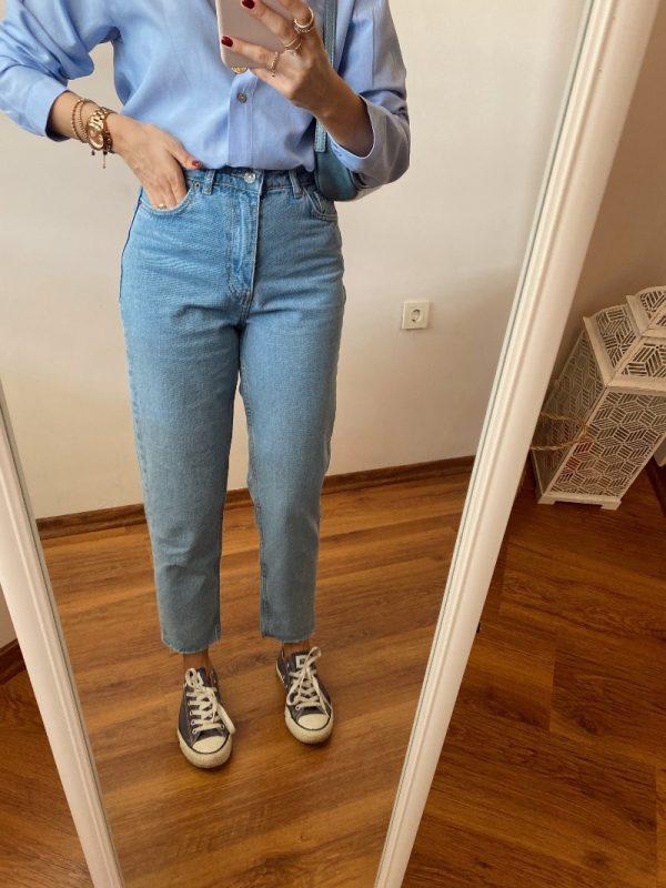 Topshop Açık Mavi Mom Jean