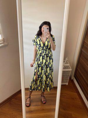 Limon Desenli Yırtmaçlı Elbise