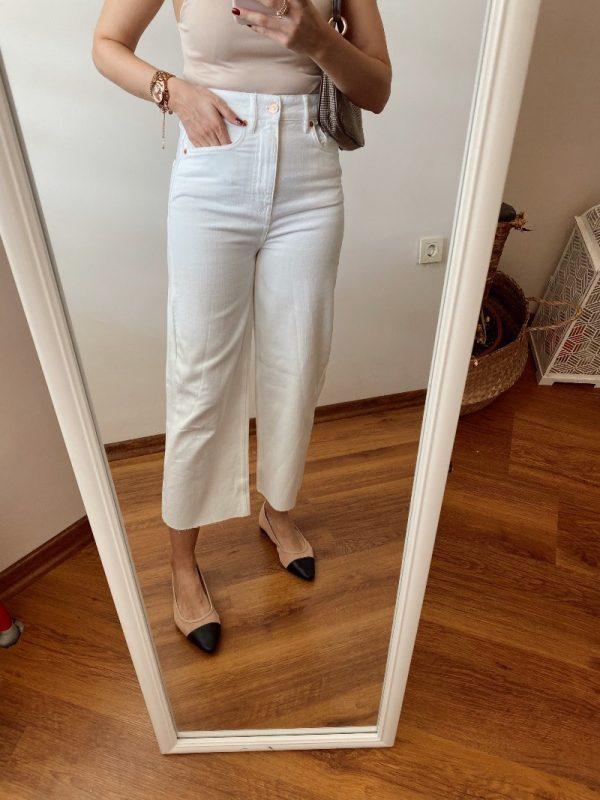 Zara Beyaz Bol Paça Jean