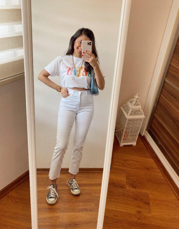 Topshop Beyaz Boyfit Jean