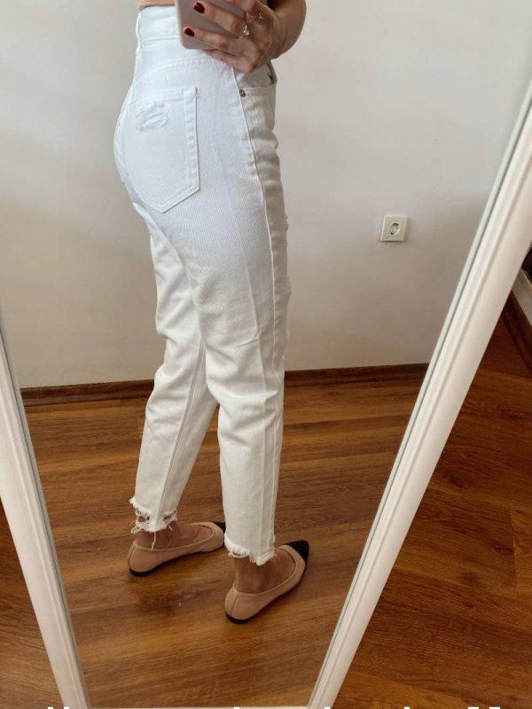 Pull&Bear Beyaz Yırtıklı Jean