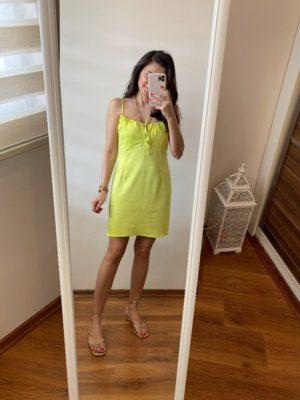 Neon Saten Mini Elbise