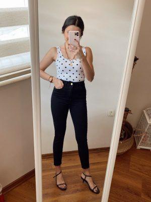 Siyah Kesik Paça Skinny Jean