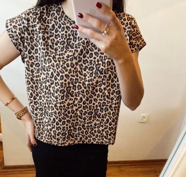 Leopar Desenli Tişört