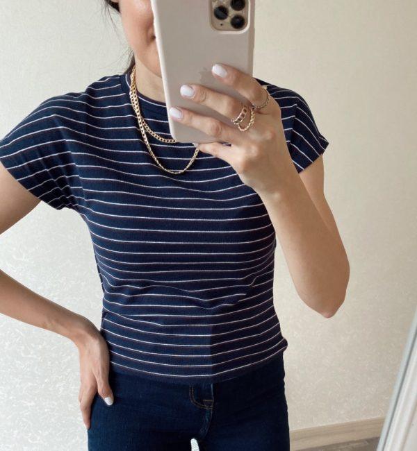 Lacivert Çizgili Tişört