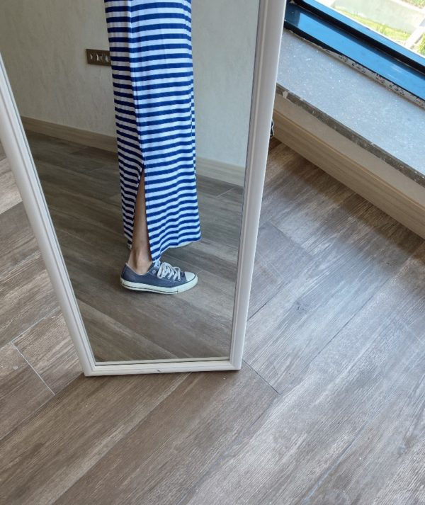 Mavi Çizgili Elbise