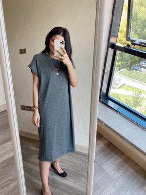 Antrasit Düşük Omuz Basic Elbise