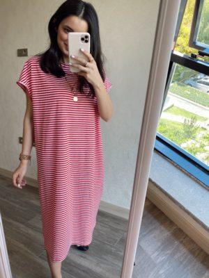 Kırmızı Çizgili Düşük Omuz Basic Elbise