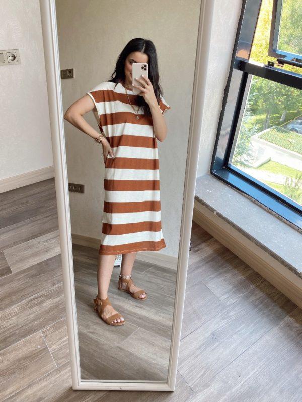 Taba Çizgili Düşük Omuz Basic Elbise