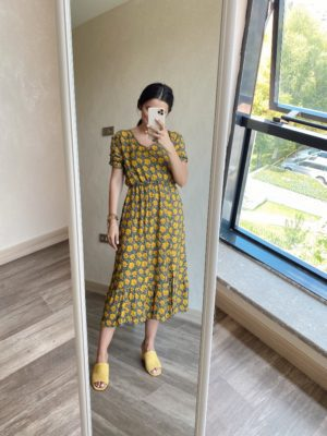 Sarı Çiçekli V Yaka Elbise