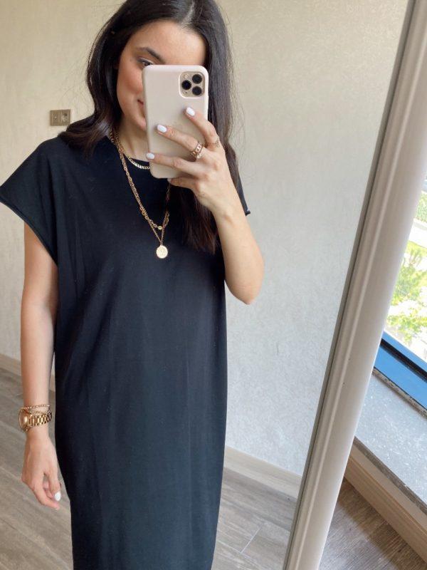 Siyah Düşük Omuz Basic Elbise