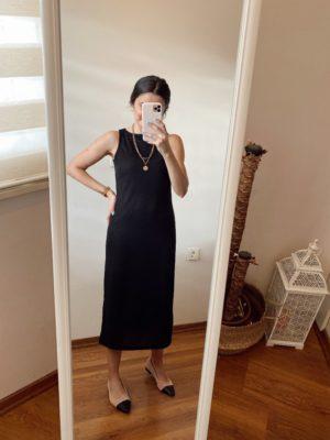 Siyah Fitilli Elbise