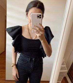 Siyah Poplin Kollu Bluz