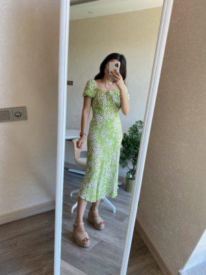 Fıstık Yeşili Çiçekli Elbise