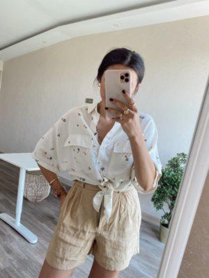 Beyaz Desenli Bağlamalı Gömlek