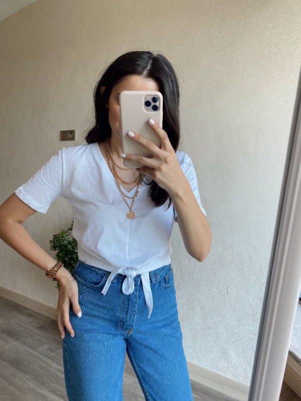 Beyaz Bağlamalı Tişört