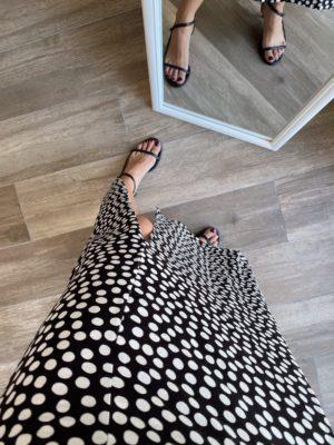 Siyah Puantiyeli Kalın Askılı Elbise