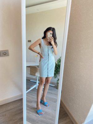 Buz Mavi Kalın Askılı Kot Elbise