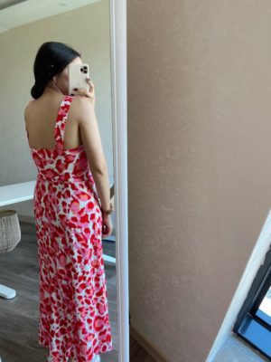 Kırmızı Kalın Askılı Elbise