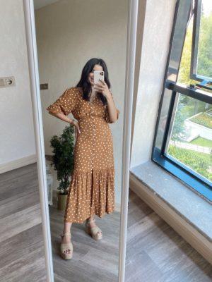 Taba Puantiyeli Elbise