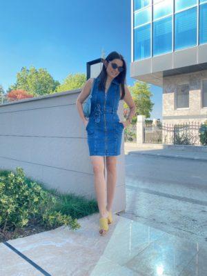 Fermuarlı Kot Elbise