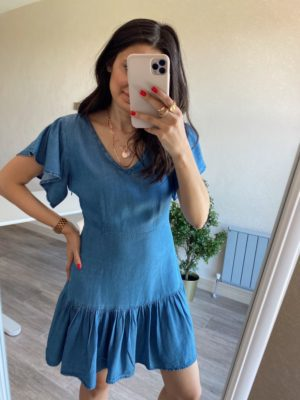 Tensel Kumaş Fırfırlı Kot Elbise