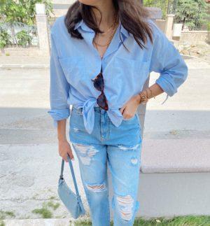 Mavi Büyük Cepli Keten Gömlek