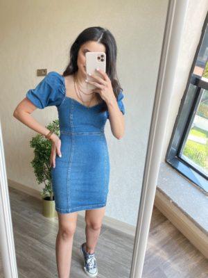 Mavi Balon Kol Kot Elbise