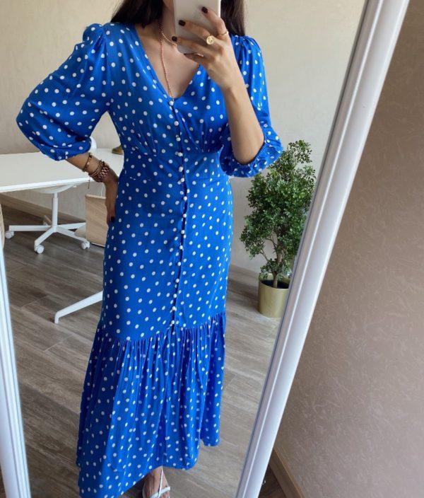 Mavi Puantiye Elbise