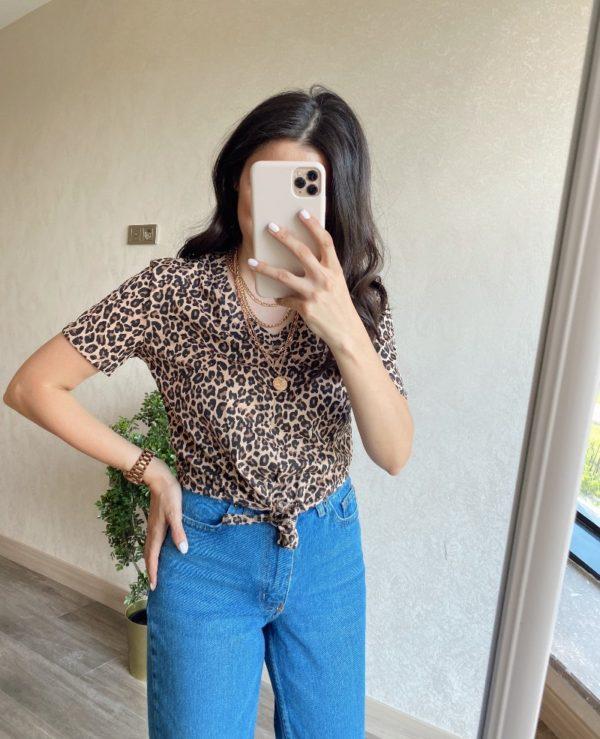 Leopar Bağlamalı Tişört