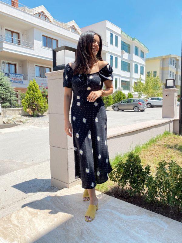 Siyah Papatya Desenli Elbise