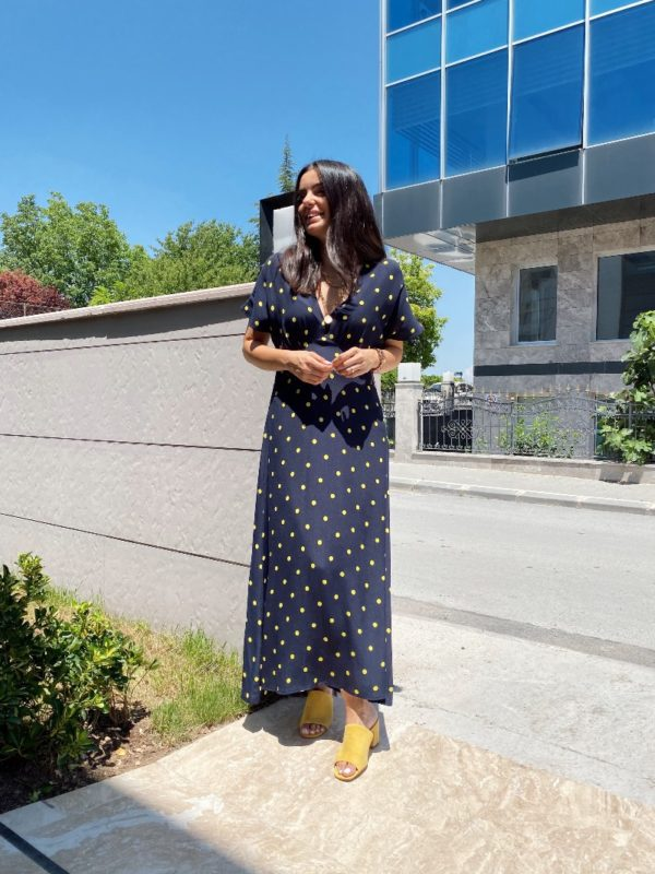 Lacivert Puantiyeli Elbise