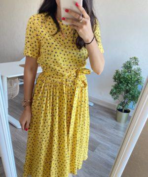 Sarı Kuşaklı Elbise
