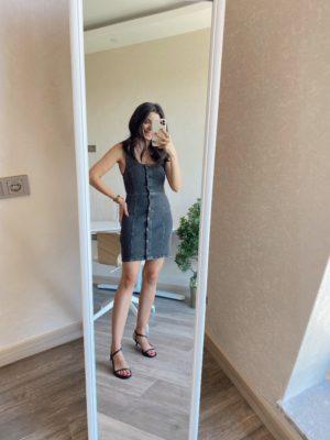 Antrasit Kalın Askılı Kot Elbise