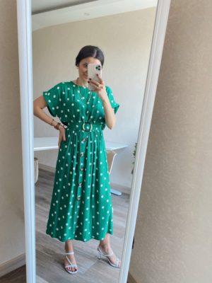 Yeşil Puantiye Elbise