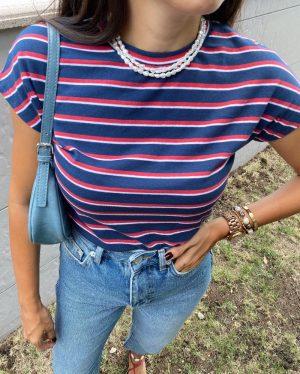 Kırmızı Mavi Çizgili Tişört