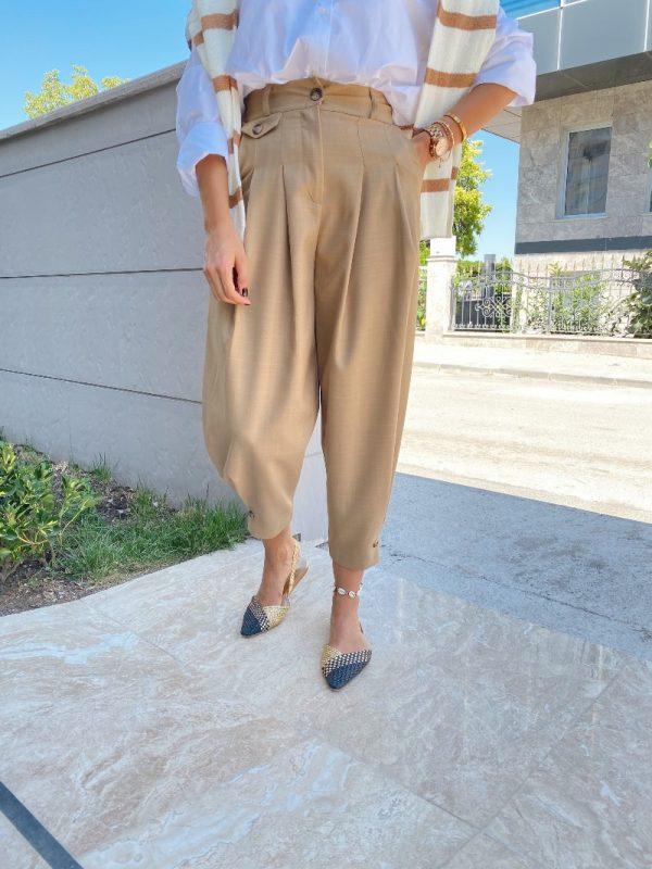 Camel Paça Detaylı Şalvar Pantolon
