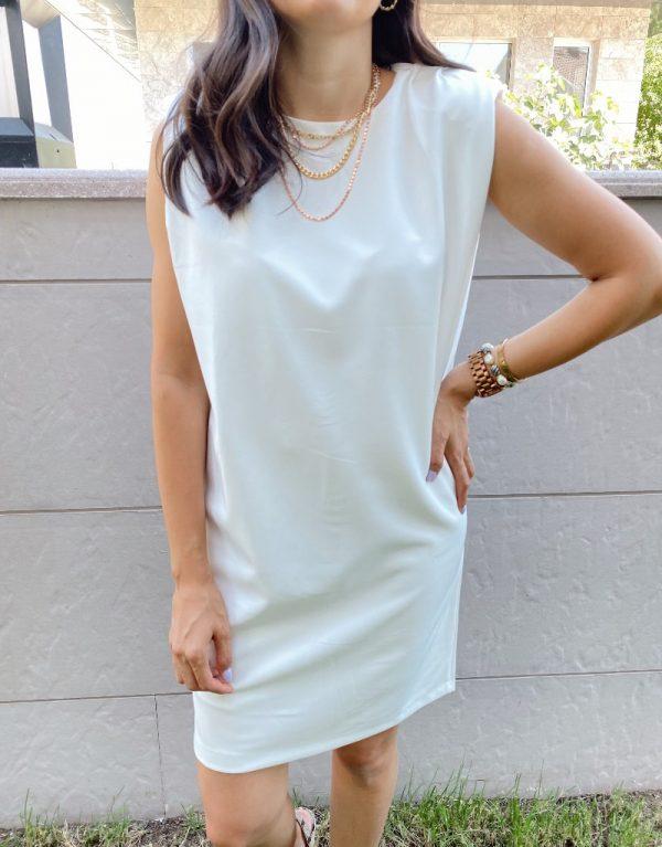 Ekru Zara Model Vatkalı Elbise