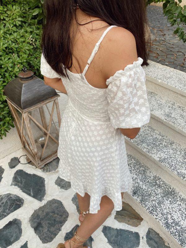 Beyaz Güpür Detaylı Tasarım Elbise