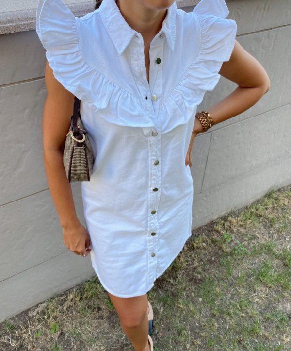 Beyaz Fırfır Detaylı Kot Elbise