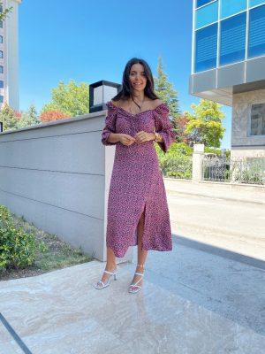 Rosette Pembe Yırtmaçlı Elbise